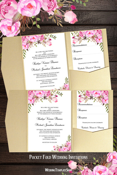 Pocket Fold Wedding Invitations Romantic Blossoms Pink and Blush