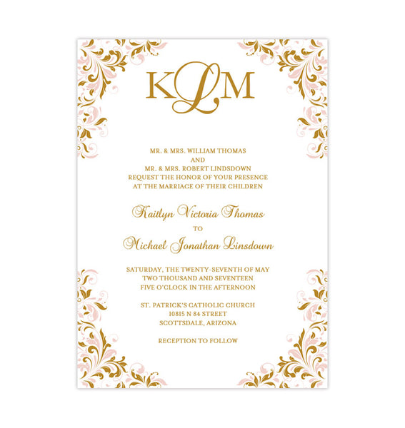 Blush Pink and Gold Printable Wedding Invitation Template Kaitlyn