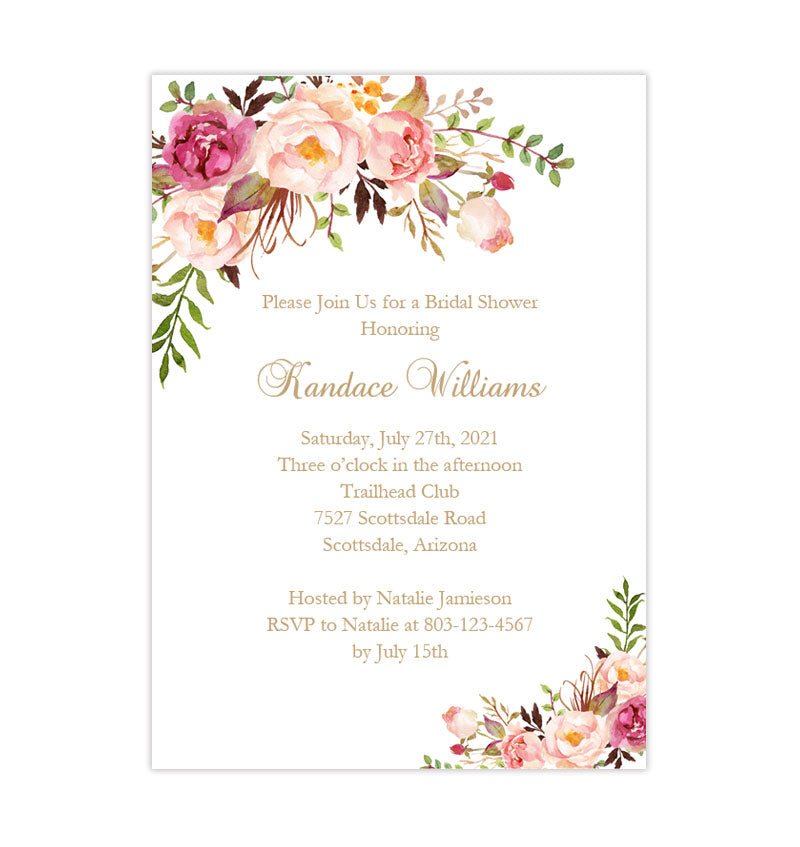 photo about Printable Bridal Shower Invites called Bridal Shower Invitation Template Passionate Blossoms Printable Do-it-yourself
