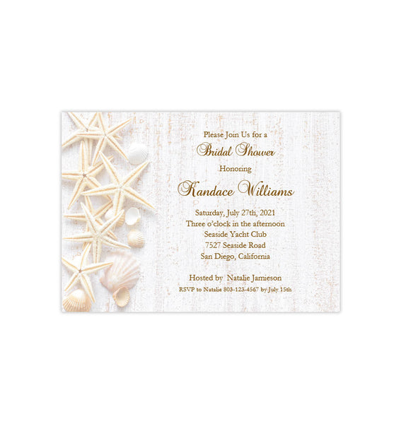 Beach Seashell Bridal Shower Invitation Temmplate Printable