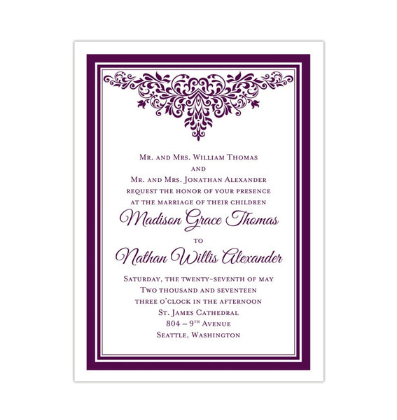 Printable DIY Wedding Invitation Template Purple