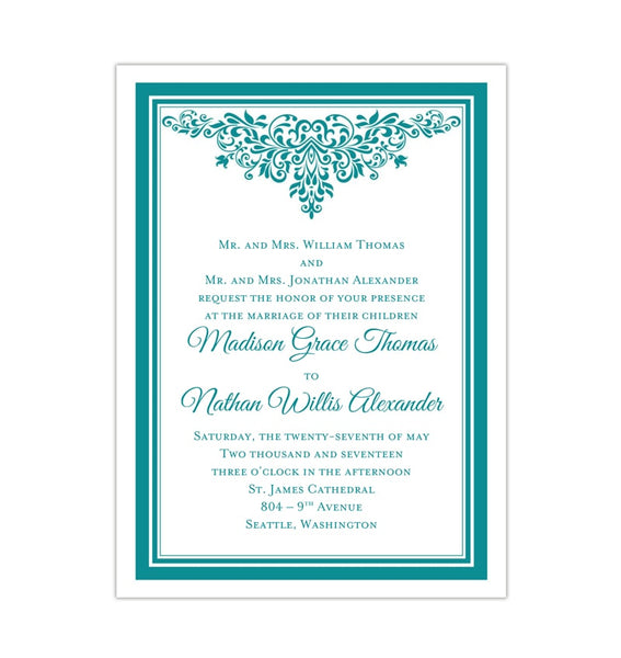Printable DIY Wedding Invitation Template Teal