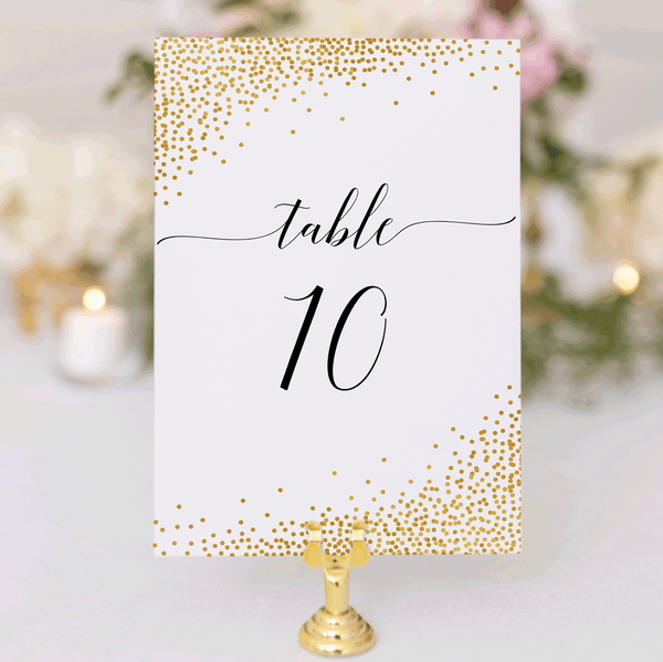 Wedding Table Number Cards Confetti Gold 1-40 Instant Downloads