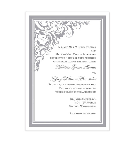 Brooklyn Wedding Invitation Gray Printable DIY Template
