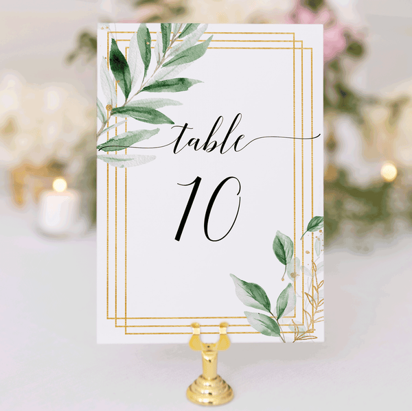 Wedding Table Number Cards Greenery 1-40 Instant Downloads