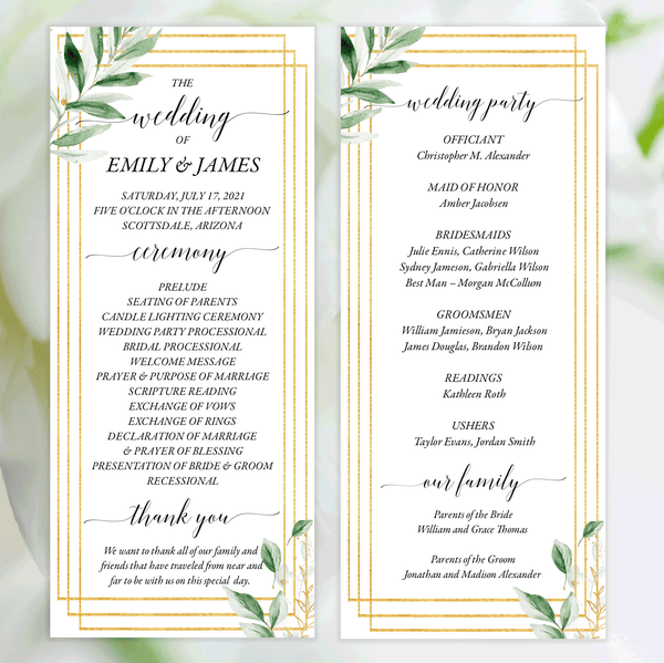 Wedding Program Tea Length Greenery and Gold Edit Online, Download, Print