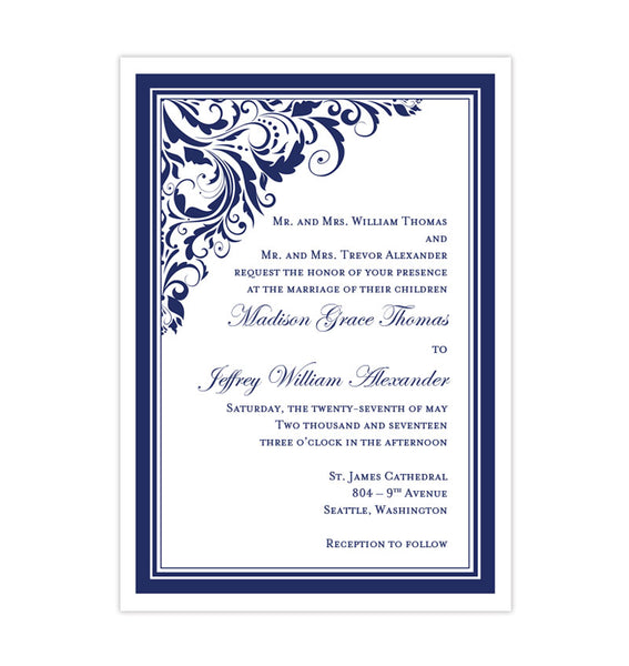 Printable DIY Wedding Invitation Navy Blue Template