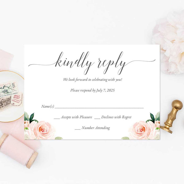 RSVP Response Cards Blush Ivory Florals Edit Online Printable DIY