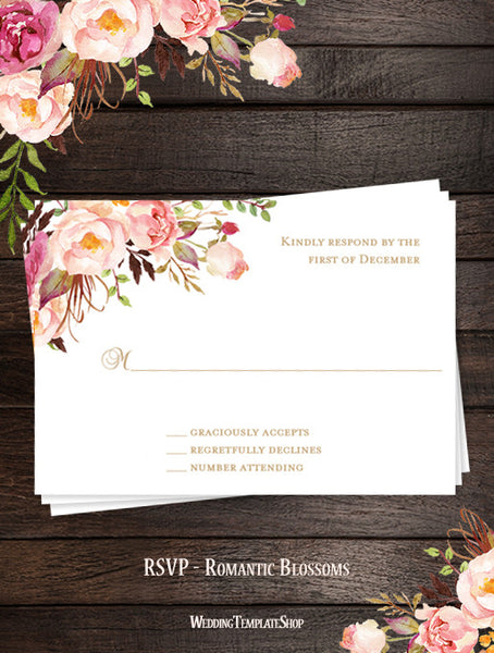 Printable Wedding Templates Romantic Blossoms