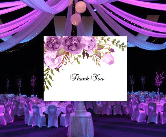 Printable Wedding Thank You Card Purple Romantic Blossoms