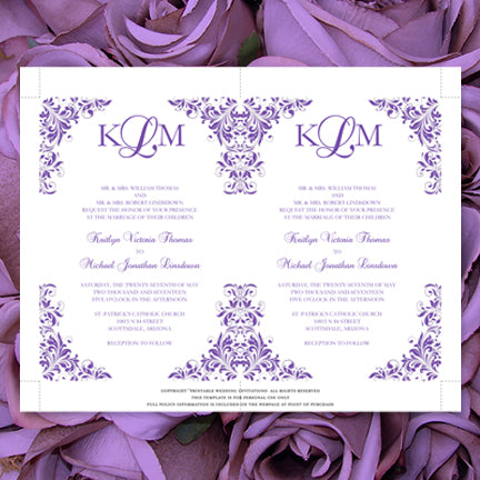 Printable Wedding Invitation Template Purple DIY
