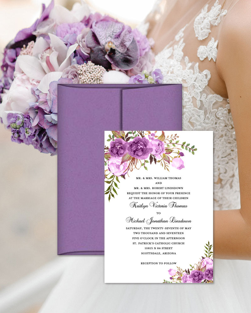 Printable Wedding Invitation Romantic Blossoms Purple Lavender Lilac: Lavender And Purple Wedding Invite At Websimilar.org