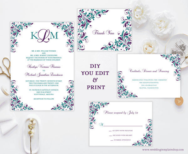 Printable Wedding Invitation Templates Set Peacock Purple Teal