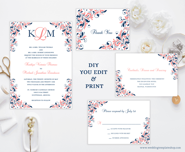 Printable Wedding Invitation Templates Set Navy Blue Coral Reef