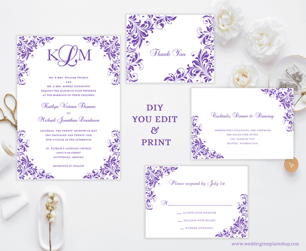 Printable Wedding Invitation Templates Set Purple DIY