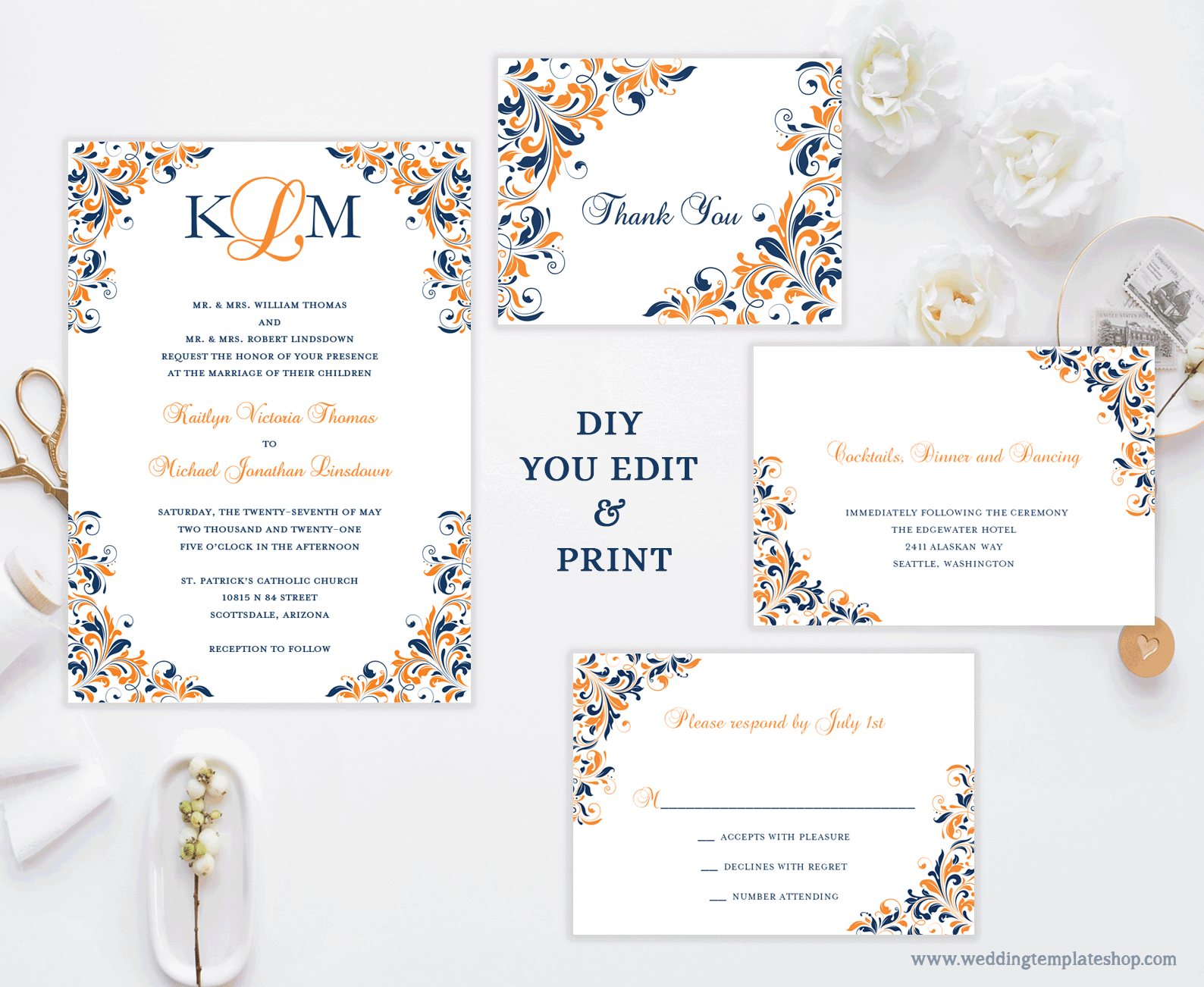 Printable Wedding Invitation Templates Set Navy Blue ...