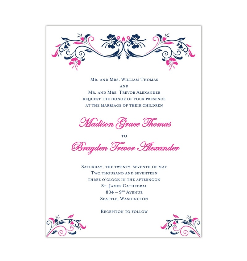 Pink And Navy Blue Wedding Invitations: Annabelle Wedding Invitation Navy Blue Fuchsia Pink