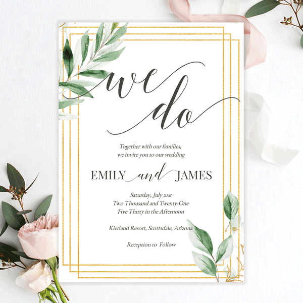 Wedding Invitation Template Greenery and Gold Edit Online, Download, Print