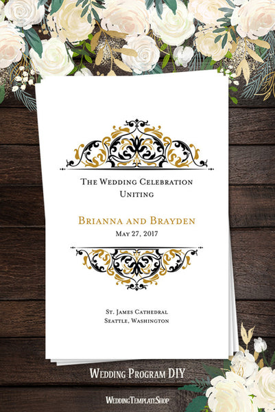 Wedding Program Template Grace Gold Black