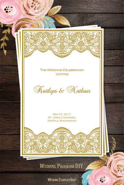 Wedding Program Template Vintage Lace Gold  Printable Program Templates