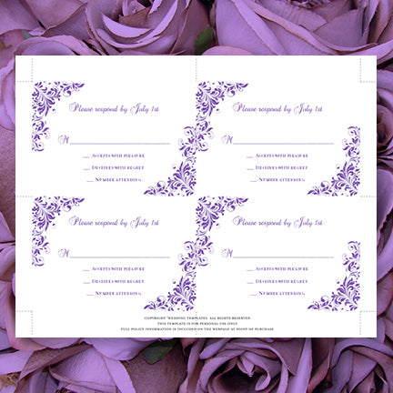 Printable Wedding RSVP Response Card Templates Purple DIY