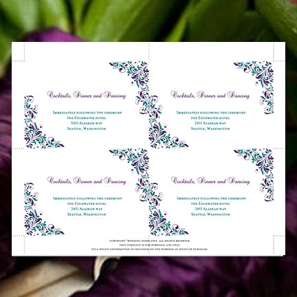 Printable Wedding Reception Insert Template Peacock Purple Teal