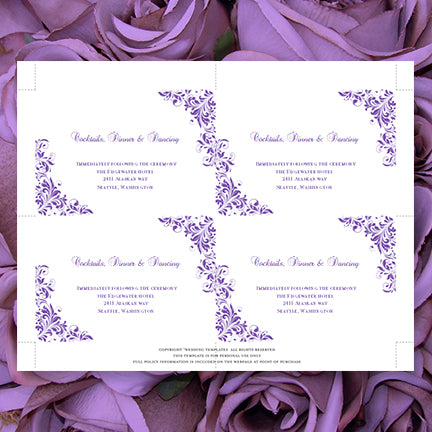 Printable Wedding Reception Invitation Template Purple DIY