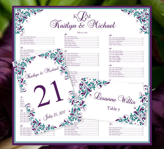 Printable Seating Chart For Wedding Reception: Wedding Seating Plan Set Kaitlyn Peacock Purple Teal