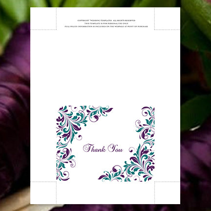 Printable Wedding Thank You Card Template Peacock Purple Teal