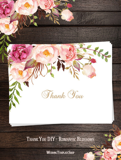 Printable Wedding Thank You Card Romantic Blossoms