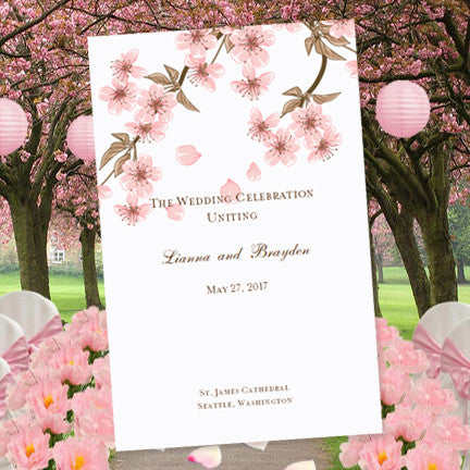 Wedding Program Template Cherry Blossom