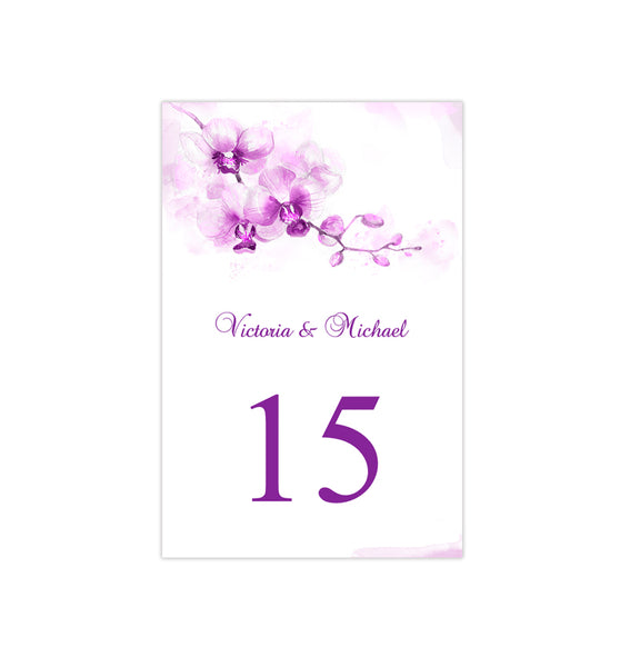 Wedding Table Number Template Orchid Purple Flat Printable DIY