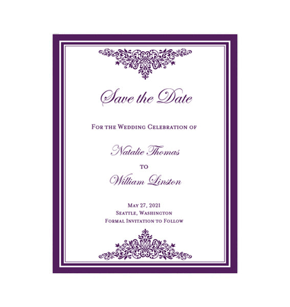 Wedding Save The Date Cards Anna Maria Purple