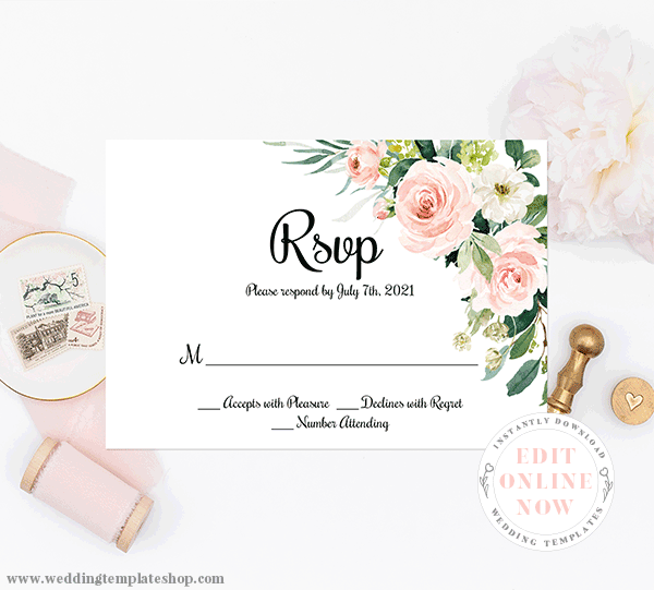 RSVP Response Cards Blush Florals Edit Online, Download and Print