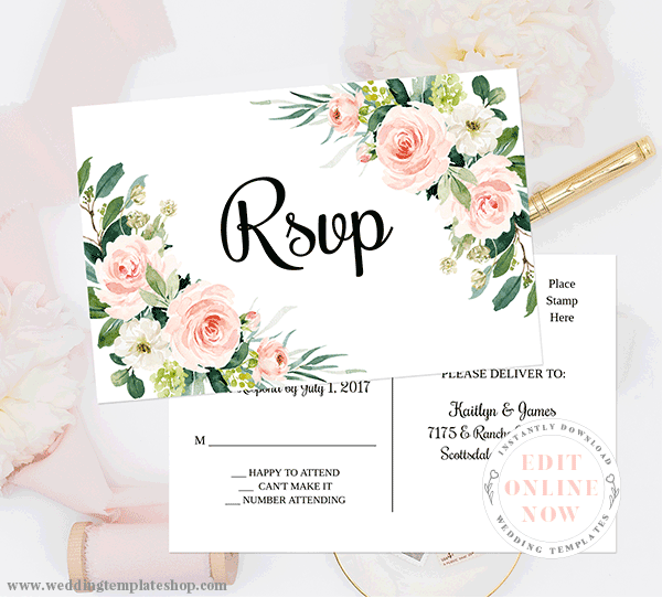 RSVP Response PostCards Blush Florals Edit Online, Download and Print