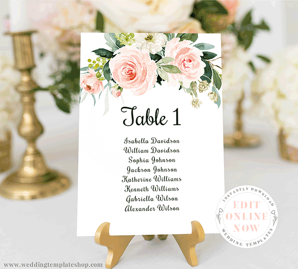 Wedding Seating Chart Template Blush Florals Edit Online Now Download