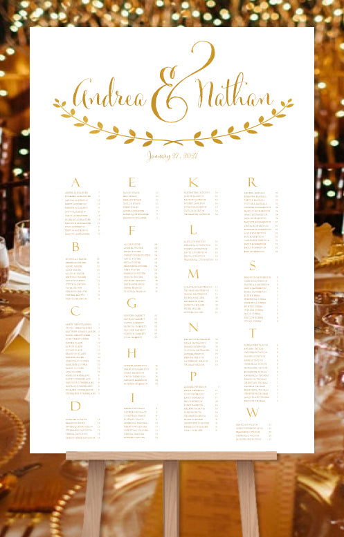 Wedding seating chart poster for reception in andrea gold wedding
