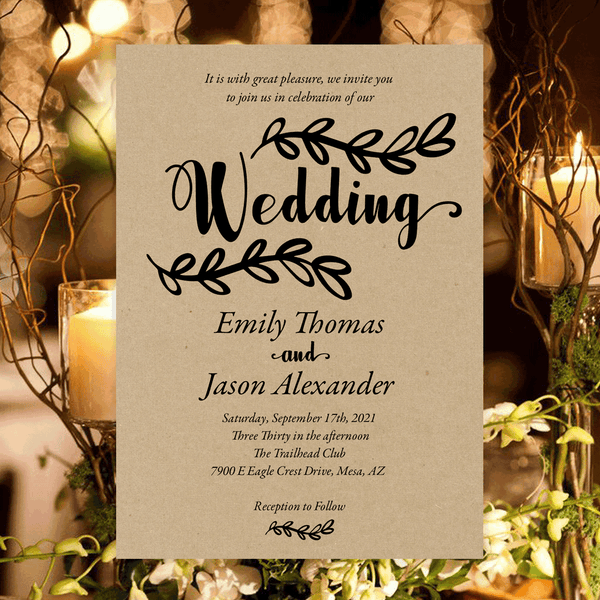 Rustic Branch Printable Wedding Invitation Template