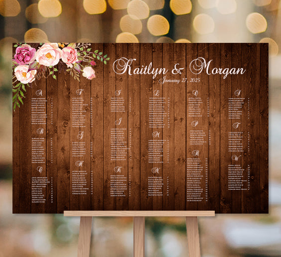Wedding Seating Chart Poster Romantic Blossoms Rustic Honey Brown Wood