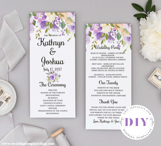 Wedding Program Tea Length Purple Florals Edit Online, Download, Print