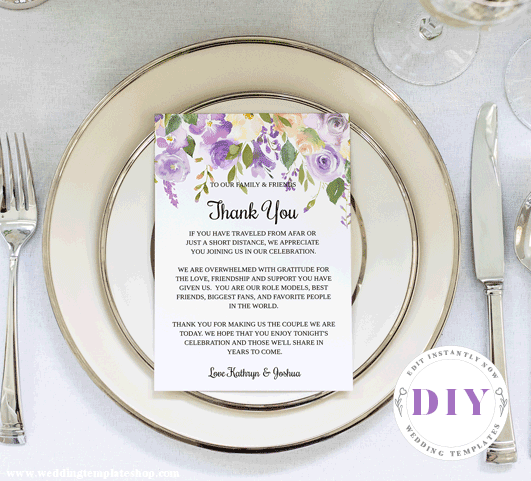 Wedding Reception Thank You Cards Purple Florals Edit Online and Print