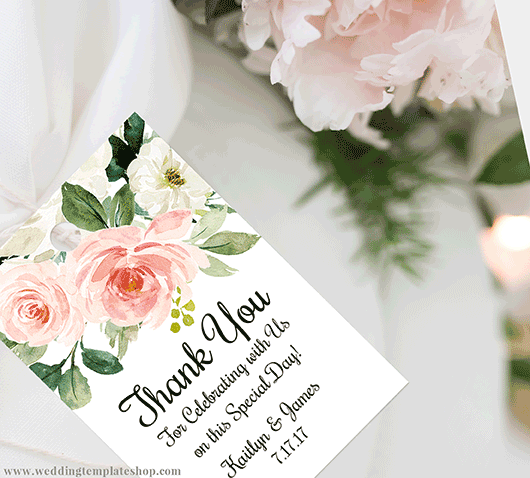 Wedding Rectangular Thank you or Favor Fags Edit Online and Print