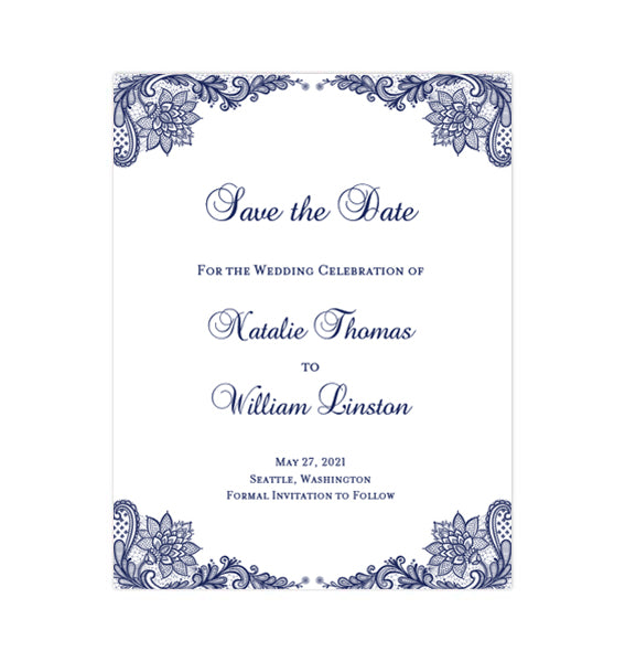 image about Printable Save the Date Cards named Marriage Conserve the Day Playing cards Common Lace Army Blue