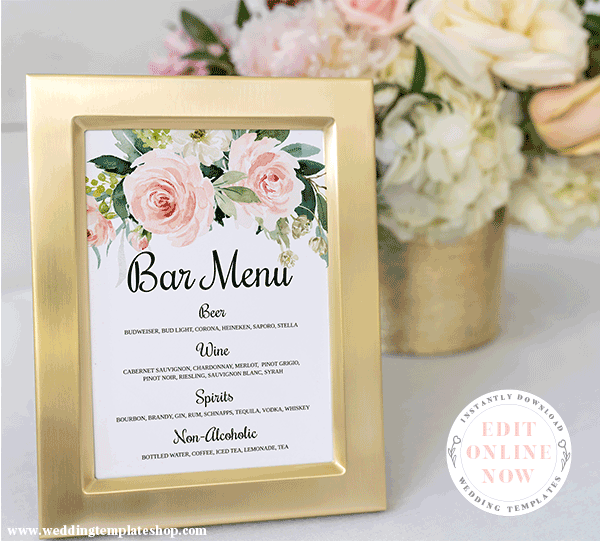Wedding Bar Menu Sign Edit Online, Print and Download Now