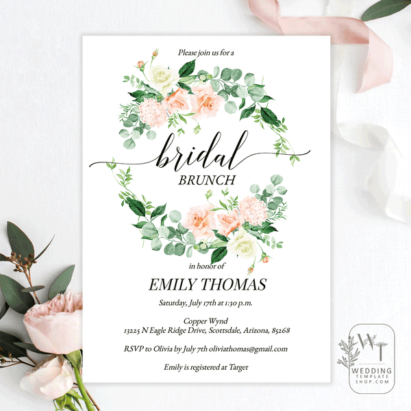 Bridal Shower Brunch Invitations Peach Yellow Florals Edit Online, You Print