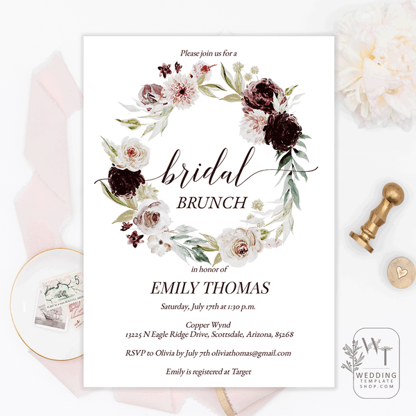 Bridal Shower Brunch Invitations Burgundy Pale Pink Florals Edit Online U Print