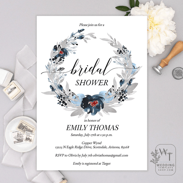 Bridal Wedding Shower Invitations Navy Blue Gray Florals Edit Online Print, Download