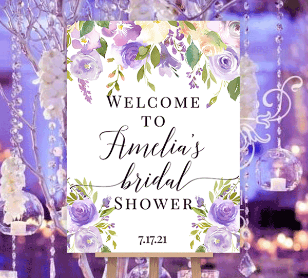 Bridal Shower Welcome Sign Purple Lavender Florals Edit Online U Print