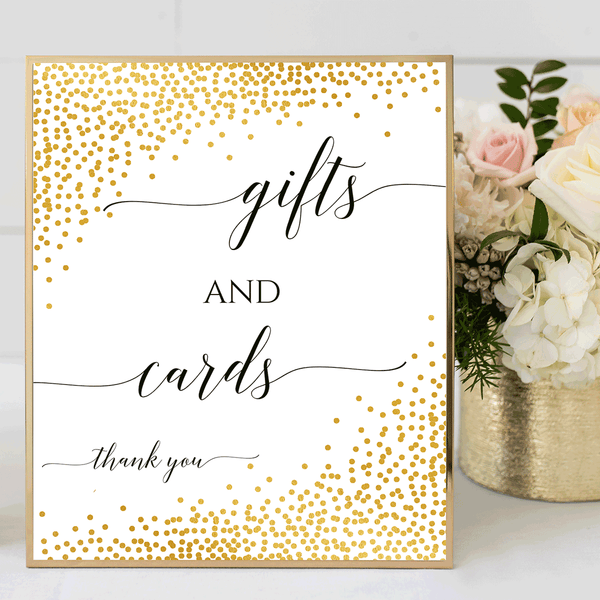 Wedding Sign Printable Gifts and Cards Confetti Gold DIY
