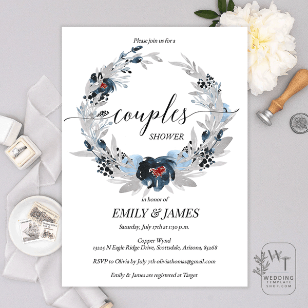 Couples Wedding Shower Invitations Navy Blue Gray Edit Online, DIY You Print